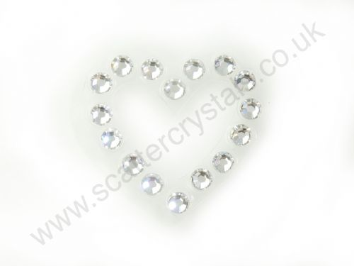 Crystaltex-It Heart Motive. 24 x 22mm, Transparent Base, Clear Crystal